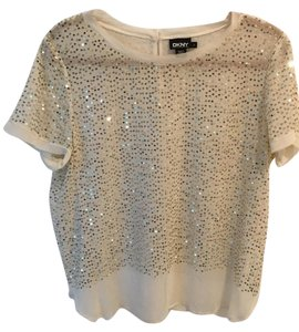 DKNY Champagne Sequins Sheer Delicate Top Cream sequin