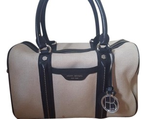 Henri Bendel Canvas Leather Tote in Beige/Black