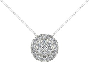 Elizabeth Jewelry 10Kt White Gold 0.50 Ct Diamond Halo Pendant