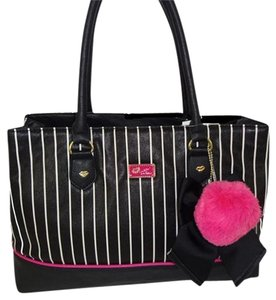 Betsey Johnson Triple Entry Black Satchel in black/bone stripe