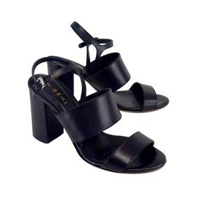 M. Gemi Black Leather Chunky Heels Sandals