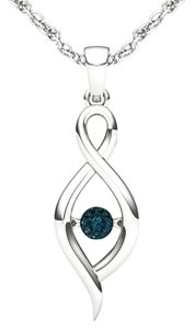 Elizabeth Jewelry 10Kt White Gold Blue Diamond in Motion Pendant