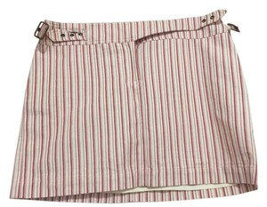 Michael Kors Multi Color Striped Cotton Mini Skirt Red and white