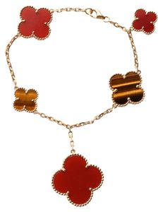 Van Cleef & Arpels Tiger Eye and Carnelian Alahambra Bracelet