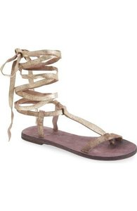 Free People Current 2016 Dahlia Beige metallic Sandals