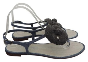 Chanel Thong T-strap Blue Sandals