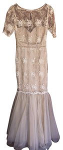 Badgley Mischka Tulle Evening Gold Free Shipping Dress