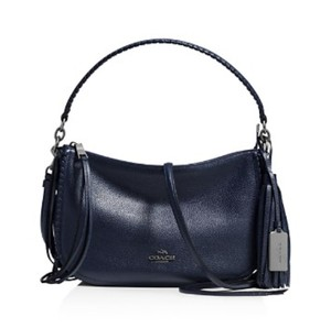 Coach Tassel Shoulder Rivets Navy Woven Cross Body Bag