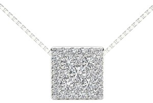 Elizabeth Jewelry 10Kt White Gold 0.50 Ct Diamond Square Pendant