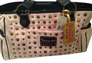 Betsey Johnson Leopard Shoulder Studded Pink Diaper Bag