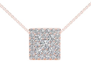 Elizabeth Jewelry 10Kt Rose Gold 0.50 Ct Diamond Square Pendant