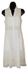 Maeve short dress Off White Sleeveless Crochet Button Front Collared on Tradesy