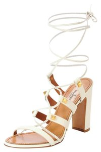 Valentino Rockstud Lace-up Chunky Gold Hardware White Sandals