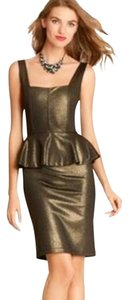 Alice + Olivia Metallic Peplum Shift Sheath Dress