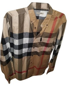 Burberry Brit Fred Exploded Button Down Shirt Camel Check Pattern