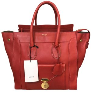 Céline Luggae Envelope Envelope Luggage Mini Luggage Tote in Red