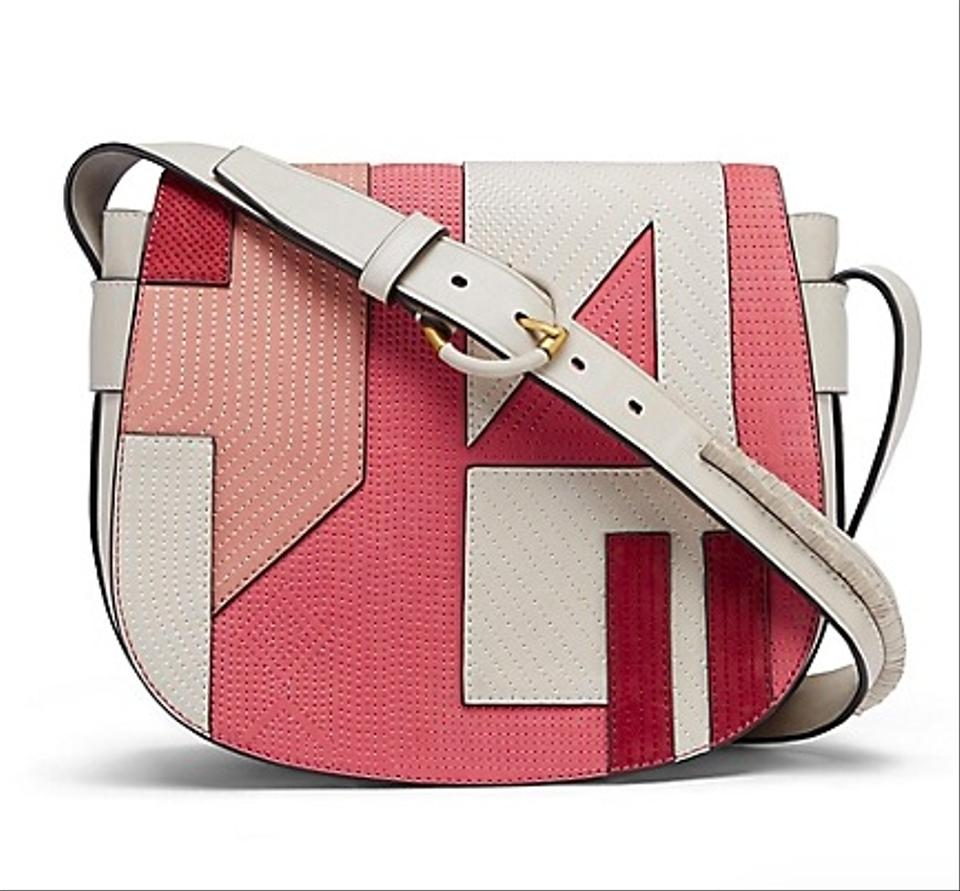 Tory Burch New Saddlebag Purse Rare Pink Leather Shoulder Bag Tradesy Fleming Geometric Clutch Beige Patchwork Sale Boho