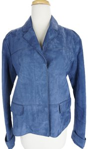 Burberry 6073009 Coat Check Small Blue Leather Jacket
