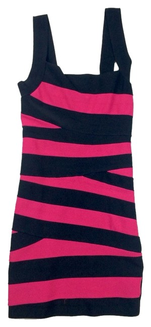 Item - Multicolor Hot Pink & Black Short Night Out Dress Size 6 (S)