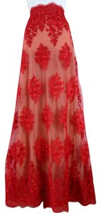 Lisa Nieves Lace Full Length A-line Sheer Maxi Skirt Red