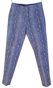 Metro Style Leather Straight Pants Light Blue Snake Print Pattern