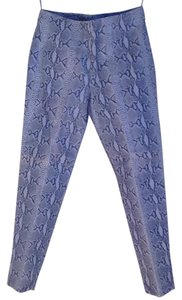 Metro Style Leather Lined Straight Pants Light Blue Snake Print Pattern