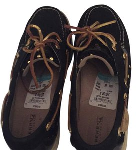 Sperry Black and gold Flats