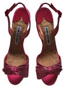 Manolo Blahnik Slingback Studded Diamond Sandals Bow Pink Formal