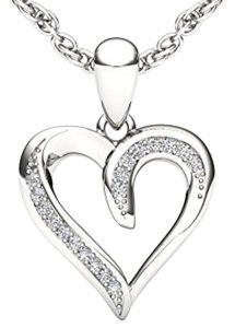 Elizabeth Jewelry 10Kt White Gold Diamond Heart Shape Pendant