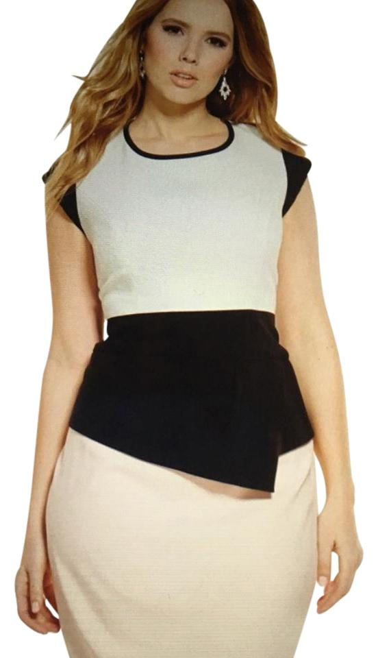The Limited Black White Pink Colorblock Asymmetrical Peplum Sheath  Mid-length Work/Office Dress Size 18 (XL, Plus 0x) 64% off retail