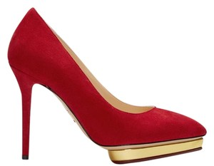 Charlotte Olympia Suede Debbie Heels Heart Gold Red Pumps