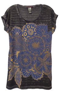 Custo Barcelona Knit Size 2 Medium Striped Screen Print Top Black and grey with blue, gold and tan