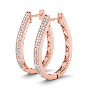 Elizabeth Jewelry 10Kt Rose Gold 0.33 Ct Diamond Hoop Earrings