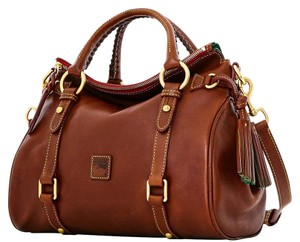 Dooney & Bourke Florentine Leather Satchel in Chestnut Brown