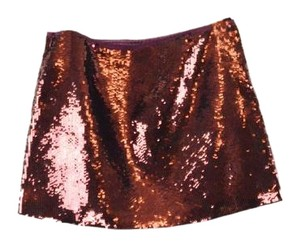 Theory Sequin Mini Skirt Burgundy