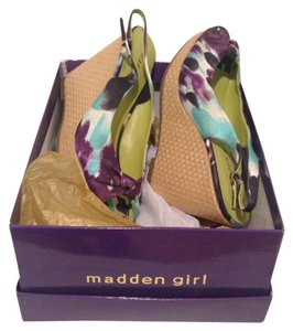 Madden Girl Watercolor purple and blue Wedges