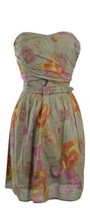 Anthropologie short dress Multi Strapless Floral Belted on Tradesy