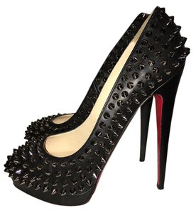 Christian Louboutin Spike Studded Leather Platform Black Pumps