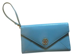 Tory Burch Leather Robinson Envelope Wristlet in Blue