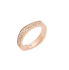 Michael Kors Michael Kors MKJ5527 Square Flat Edge Crystals Rose Gold Ring SZ 7