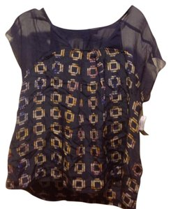 Foreign Exchange Sheer Top Navy blue with beige design