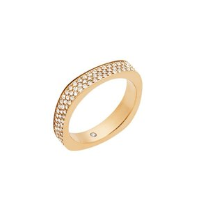 Michael Kors Michael Kors MKJ5527 Square Flat Edge Crystals Gold Ring SZ 6