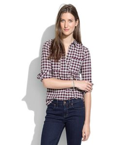 Madewell Button Down Shirt Berry/Gray