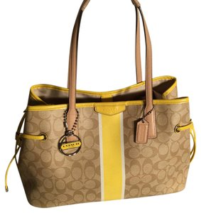 Coach Satchel in Tan/Yellow/White