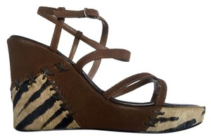 Steve Madden Calf Hair Cognac Multi Wedges