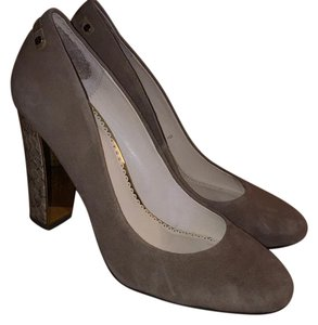 C. Wonder Suede Snakeskin Classic Taupe Pumps