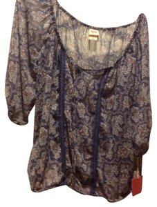 Mossimo Supply Co. Sheer Peasant Brand New Top Blue with white and gray tones