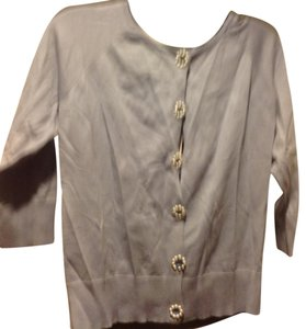 August Silk Button Front Brand New Light Blue Buttons Have Pearl Sweater