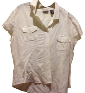 New York & Company & Co Linen Blend Button Front With Front Pockets Like Button Down Shirt White