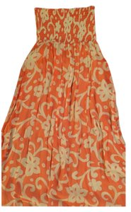 Orange and white Maxi Dress by Scoop NYC